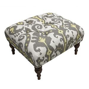 Seating - Nate Berkus Marrakesh Graphite Ottoman at HSN.com - nate berkus, yellow, gray, ikat, marrakesh, graphite, ottoman
