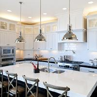 Candlelight Homes - kitchens - sink in kitchen island, double ovens, pot filler, glossy, white, subway tiles, backsplash, white, shaker, kitchen cabinets, polished, black, granite, countertops, ebony, stained, kitchen island, marble, countertops, double ovens, Restoration Hardware Madeline Cafe Counter Stool, Restoration Hardware Harmon Pendant,