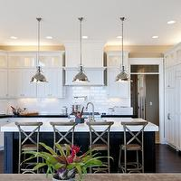 Candlelight Homes - kitchens - ebony, stained, kitchen island, marble, countertops, white, shaker, kitchen cabinets, glossy, black, granite, countertops, pot filler, subway tiles, backsplash, double ovens, sink in kitchen island, Restoration Hardware Madeline Cafe Counter Stool, Restoration Hardware Harmon Pendant,