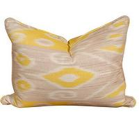Pillows - Yellow &amp; Taupe Ikat Pillow | Pieces - yellow, gray, ikat, pillow