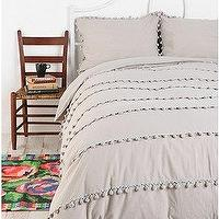Bedding - UrbanOutfitters.com > Ball Fringe Duvet Cover - gray, ball, fringe, duvet, cover, bedding
