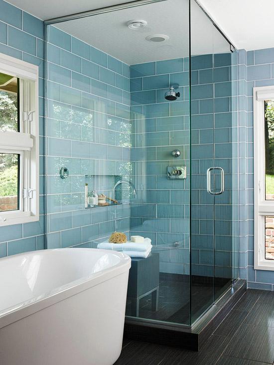 Blue Glass Shower Surround Contemporary Bathroom BHG