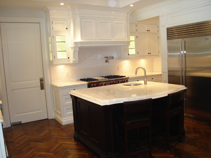 Suzie: designerfriend.ca  Gorgeous two-tone kitchen design with creamy white kitchen cabinets, ...