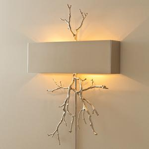 Lighting - Modern Chic Home - twig, wall, sconce, nickel, gray, shade