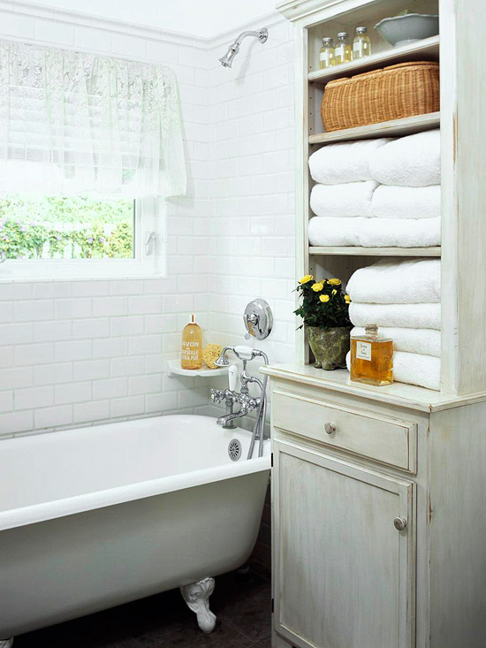 Whitewashed Cabinet Cottage Bathroom BHG