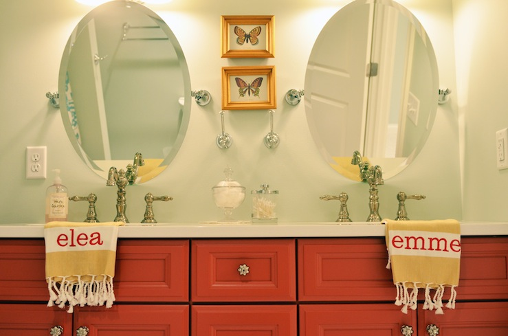 Life in Grace - bathrooms - Sherwin Williams - Sea Salt - orange, red, double bathroom vanity, white, yellow, striped, monogrammed, bath, towels, green, gray, walls, oval, pivot, mirrors, brushed nickel, faucet kits, butterfly, art, girl bathroom, girls bathroom, girl bathroom design, girls bathroom design, red double vanity, painted double vanity, girls double vanity, girls double bathroom vanity,