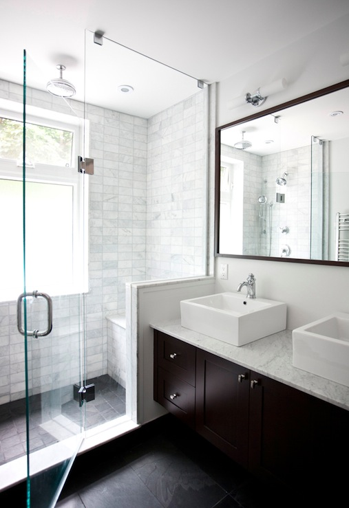 Designer Friend - bathrooms - Benjamin Moore - Cloud White - espresso, double, bathroom cabinet, vanity, marble, countertop, espresso, framed, mirror, white, porcelain, overmount, sinks, double sinks, frameless glass shower, marble, subway tiles, shower surround and double sconces.,