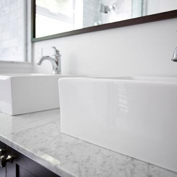 Double Console Sink, Contemporary, bathroom, Benjamin Moore Cloud White, Designer Friend