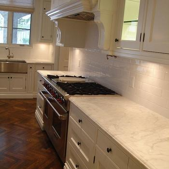 Designer Friend - kitchens - herringbone, chevron, coffee stained, wood floors, white kitchen cabinets, marble, countertops, subway tiles, backsplash, pot filler, stainless steel, apron, sink, linen, roman shade, wood herringbone floor, hardwood herringbone floor,