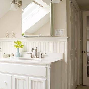 Beadboard Cabinets, Cottage, bathroom, BHG