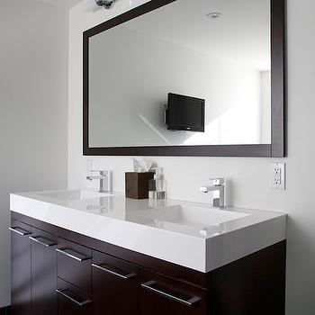 Designer Friend - bathrooms - double sconces, espresso, stained, double, bathroom cabinets, white, quartz, countertops, polished nickel, faucets, hardware, floating vanity, floating bathroom vanity, modern floating vanity, modern floating bathroom vanity,