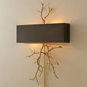 Lighting - Twig Wall Sconce in Brass & Bronze Modern Chic Home - twig, wall, sconce, brass, bronze, black, shade