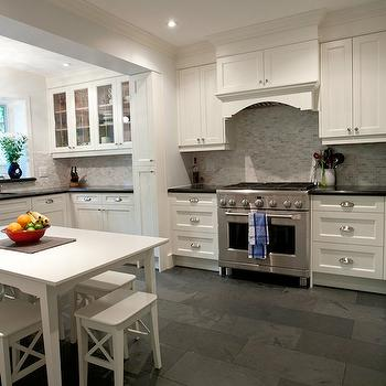 Black and white mosaic tiles transitional kitchen for Slate kitchen floors with white cabinets