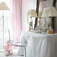 Atlanta Homes & Lifestyles - girl's rooms - organza, skirted, vanity, table, antique, ornate, mirror, dog, lamps, flokati, rug, ivory, pink, horizontal, striped, painted, walls, white, floor lamp, pink, drapes, ghost chairs ikea, ikea ghost chairs, ghost chair ikea, ikea ghost chair, Ikea Tobias Chair,
