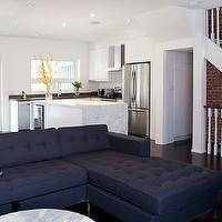Designer Friend - living rooms - espresso, satined, wood floors, navy blue, linen, tufted, sectional, sofa, chaise lounge, exposed, brick walls, sectional, sectional sofa, blue sectional, blue sectional sofa, tufted sectional, tufted sectional sofa, blue tufted sectional, blue tufted sectional sofa, , CB2 Smart Round Marble Top Coffee Table, Marimekko Tuuli Fabric,