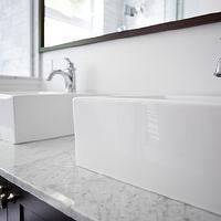 Designer Friend - bathrooms - espresso, stained, double, bathroom cabinet, vanity, double sinks, marble, countertop, polished nickel, faucets, white, porcelain, overmount, sinks, espresso, rectangular, bathroom, mirror, double vanity, double vanity ideas, double bathroom vanity, double bathroom vanities, double console sink,