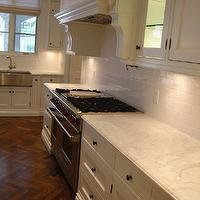 Designer Friend - kitchens - herringbone, chevron, coffee stained, wood floors, white kitchen cabinets, marble, countertops, subway tiles, backsplash, pot filler, stainless steel, apron, sink, linen, roman shade,
