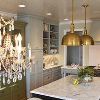 Brass island pendants french kitchen benjamin moore Benjamin moore country green