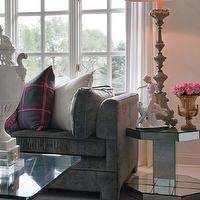 Donna Benedetto Designs - bedrooms: Mirror, Lucite, Pop of color, antique accessories,  Seven Oaks Showhouse - Pop of color with antique accessories