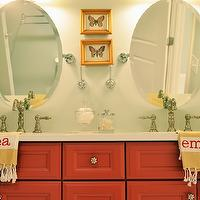Life in Grace - bathrooms - orange, red, double bathroom vanity, white, yellow, striped, monogrammed, bath, towels, green, gray, walls, oval, pivot, mirrors, brushed nickel, faucet kits, butterfly, art, girl bathroom, girls bathroom, girl bathroom design, girls bathroom design,