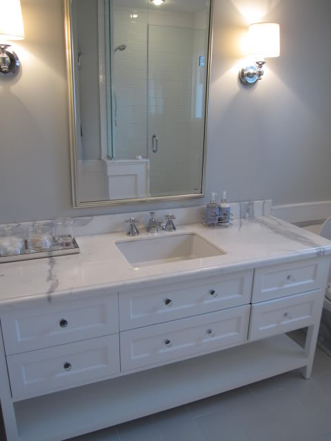 Calcutta Marble Transitional Bathroom Benjamin Moore