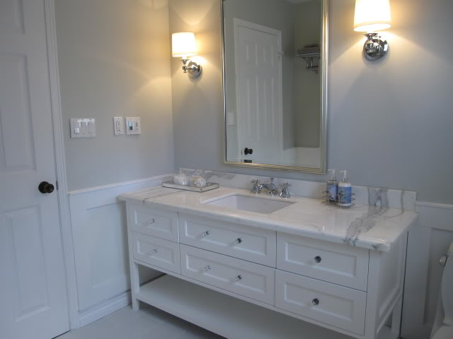 Blue Gray Paint - Contemporary - bathroom - Benjamin Moore Wickham ...