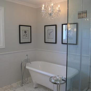 Chandelier over Bathtub, Transitional, bathroom, Benjamin Moore Horizon, Redroze's Renos