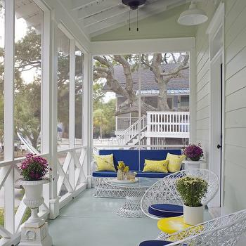 Rethink Design Studio - porches - Sherwin Williams - Dewy - white, outdoor, furniture, blue, cushions, white, piping, yellow, pillows, covered porch,