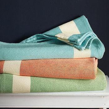 Border Stripe Blanket, Garnet Hill