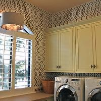 The Casablanca Transformation - laundry/mud rooms - gray, drum, pendant, yellow, laundry room, cabinets, glossy, white, front-load, washer, dryer, Cutting Edge Stencils in Trellis Allover Stencil,