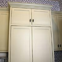 The Casablanca Transformation - laundry/mud rooms - painted, charcoal, gray, yellow, laundry room, cabinets, Cutting Edge Stencils in Trellis Allover Stencil,