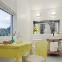 Rethink Design Studio - bathrooms - bright, yellow, painted, desk, vanity, yellow, cane, chair, modern, washstand, light, gray, walls, yellow vanity, yellow make up vanity, yellow chair, yellow cane chair, yellow vanity chair, double shower curtains,