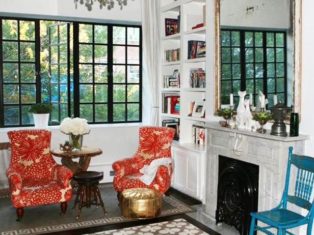 Gray greek key rug eclectic living room for Genevieve gorder kitchen designs