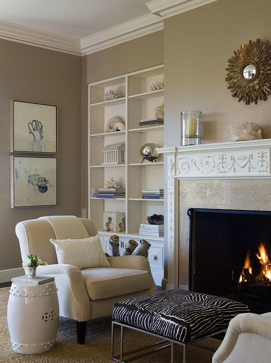 Zebra ottoman transitional living room benjamin dhong - Gold wall color living room ...