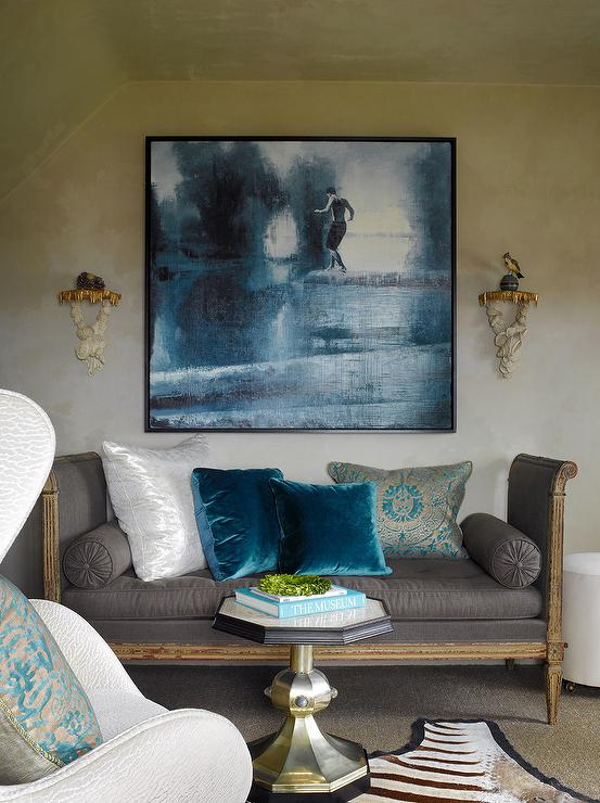 Benjamin Dhong - living rooms - french, sette, daybed, upholstered, charcoal, line, fabric, bolster, pillows, blue, velvet, pillows, blue, gold, damask, pillow, cowhide, rug, octagon, accent table, venetian plaster, walls, french settee, linen settee, linen french settee, gray settee, gray linen settee, gray french settee, upholstered settee, upholstered french settee, teal pillows, teal velvet pillows,