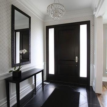 Jodie Rosen Design - entrances/foyers - slim, ebony, stained, console, table, moorish, tiles, wallpaper, wainscoting, black, mirror, espresso, stained, front, door, bling chandelier, slim console table, slim foyer table, black foyer table, foyer wainscoting, entrance wainscoting, entry wainscoting,