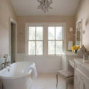 Grasscloth Bathroom, Transitional, bathroom, Benjamin Moore Swiss Coffee, Benjamin Dhong
