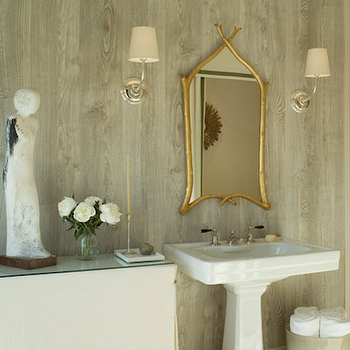 Benjamin Dhong - bathrooms - gold, branch, mirror, glossy, white, pedestal, sink, faux bois, wallpaper, linen, skirted, table, green, trim, faux bois, faux bois wallpaper, gold mirror, gold bamboo mirror, vendome sconce,