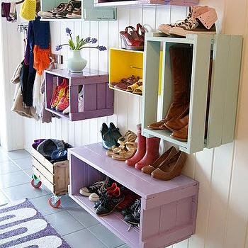 laundry/mud rooms - DIY, crates, wood crates, colorful wood crates, wall mounted crates, wall cubbies,  DIY Colorful Crates