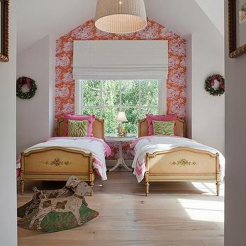 Benjamin Dhong - girl's rooms - green, pillows, pink, bedding, vintage, twin, beds, pink, red, wallpaper, accent walls, wallpaper accent wall, wallpapered accent wall, shared kids room, shared girls room, shared girls bedroom, shared kids bedroom, Ikea LERAN Pendant,