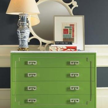 living rooms - .green chest, striped walls, fretwork chest, green fretwork chest,  striped walls