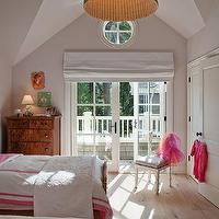 Chic tween girl's bedroom with Ikea LERAN pendant, French doors with white roman shade, ...