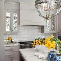 Benjamin Dhong - kitchens - bright, yellow, light, gray, kitchen cabinets, beveled, subway tiles, backsplash, marble, countertops, yellow and gray room, gray and yellow room, yellow and gray kitchen, gray and yellow kitchen, Restoration Hardware Victorian Hotel Pendant,