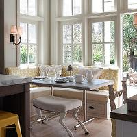Benjamin Dhong - kitchens - eatin, storage, built-in, banquette, white, yellow, ikat, cushions, polished chrome, dining table, bench,  Fantastic