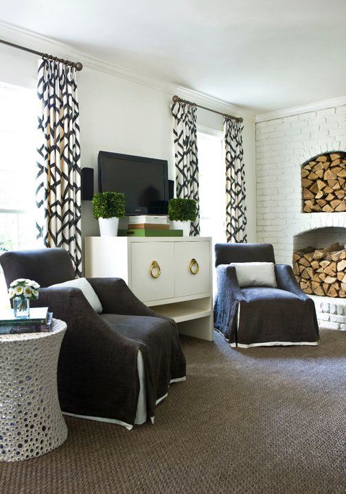 Black and white drapes living room melanie turner interiors