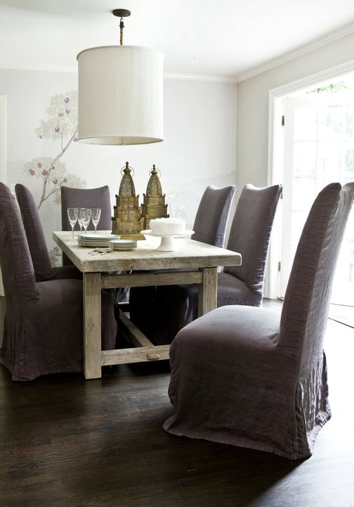 Melanie Turner Interiors - dining rooms - purple, linen, slipcovered, dining chairs, rustic, reclaimed, wood, dining table, white, drum, linen, pendant, tree, wall, mural, purple dining chairs, slipcovered dining chairs, purple slipcovered dining chairs,