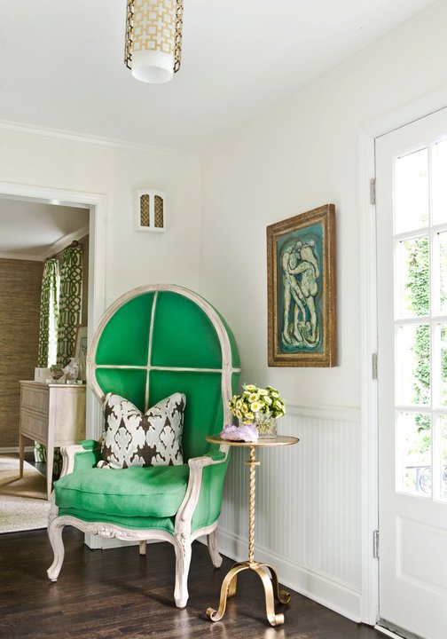 Melanie Turner Interiors - entrances/foyers - Kelly Wearstler Bengal - Graphite, Jonathan Adler Parker Pendant, pillow, green, dome, chair, chair rail, beadboard, brass, pedestal table, dome chair, green dome chair, foyer chair, foyer, green foyer chair,