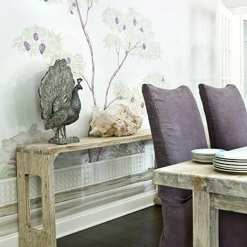 Melanie Turner Interiors - dining rooms - tree, wall, mural, reclaimed, wood, console, table, rustic, dining table, purple, linen, slipper, dining chairs, purple dining chairs, slipcovered dining chairs, purple slipcovered dining chairs,