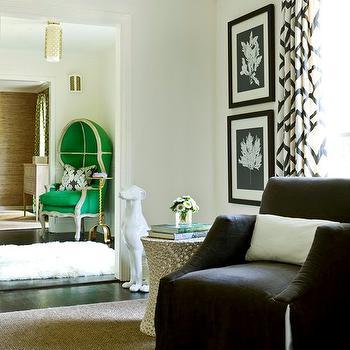 Gray Slipcovered Chair, Contemporary, living room, Melanie Turner Interiors