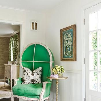 Melanie Turner Interiors - entrances/foyers - pillow, green, dome, chair, chair rail, beadboard, brass, pedestal table, dome chair, green dome chair, foyer chair, foyer, green foyer chair, Kelly Wearstler Bengal - Graphite, Jonathan Adler Parker Pendant,